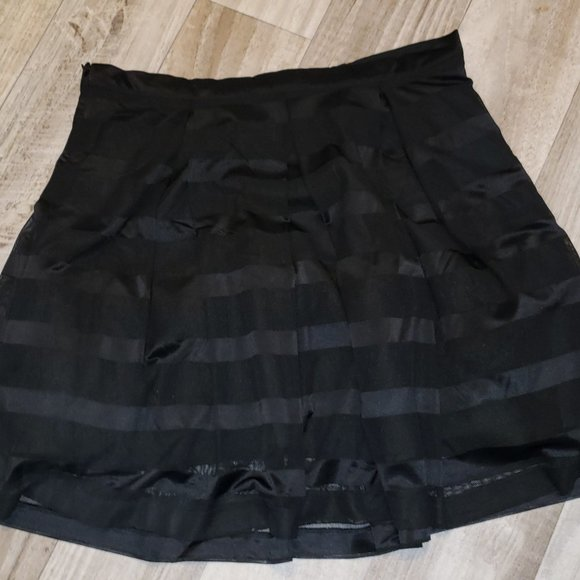 Forever 21 Black Mesh Striped Skater Skirt